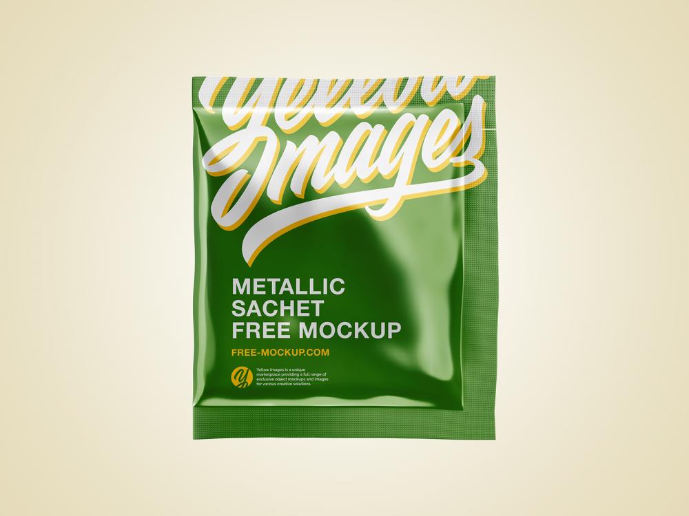 Metallic Sachet Free Mockup