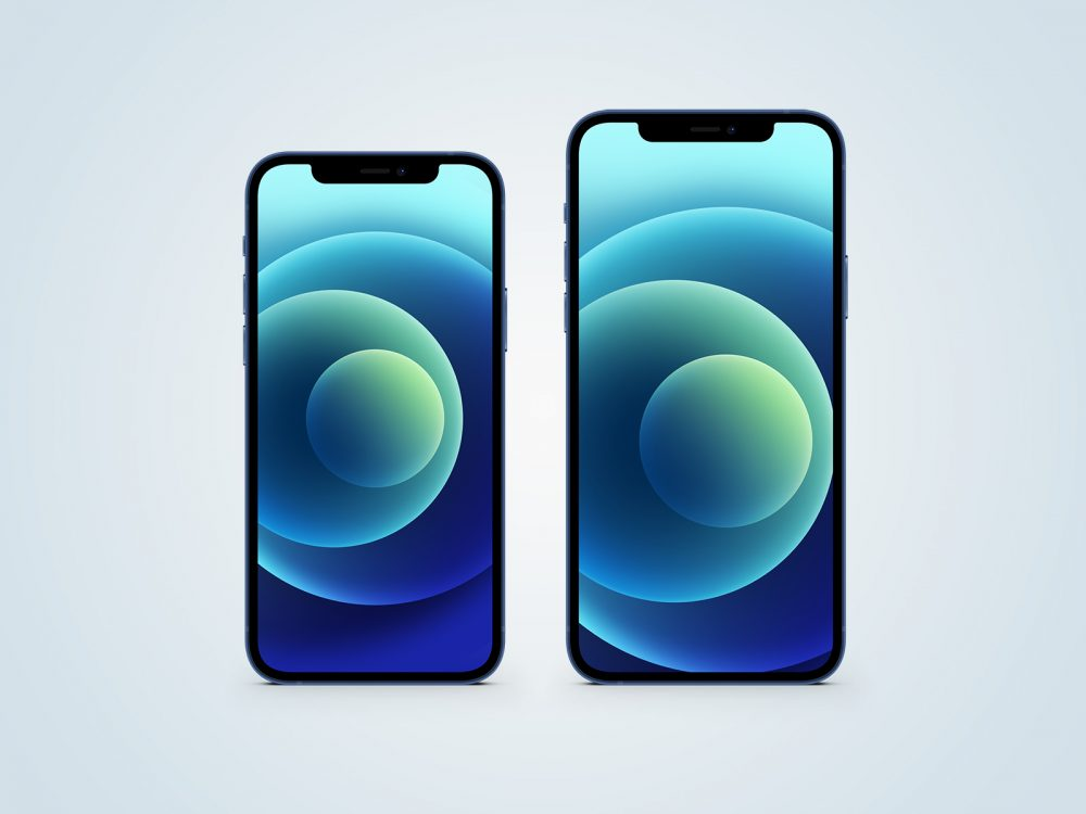 iPhone 12 Blue Free Mockup