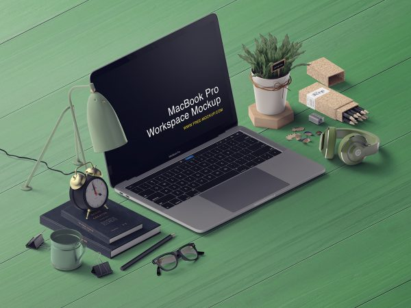 MacBook Pro Workspace Free Mockup