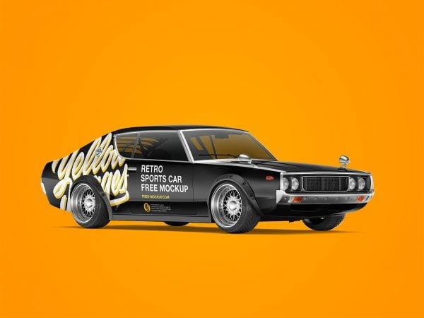 Retro Sports Car Free Mockup