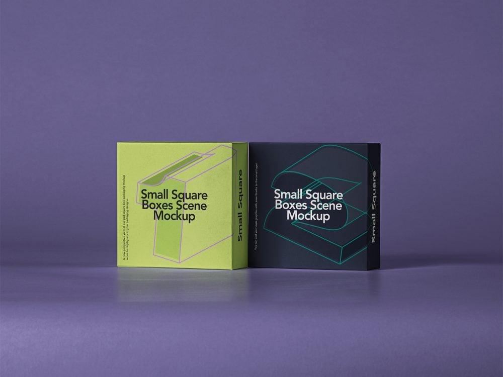 Small Square Box Free Mockup Set
