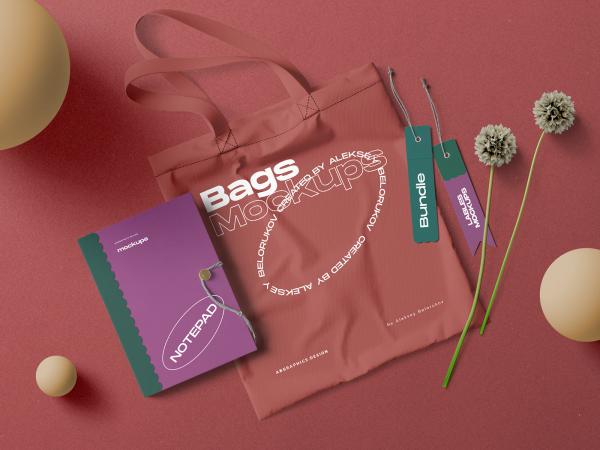Textile Bag Free Mockup Scene