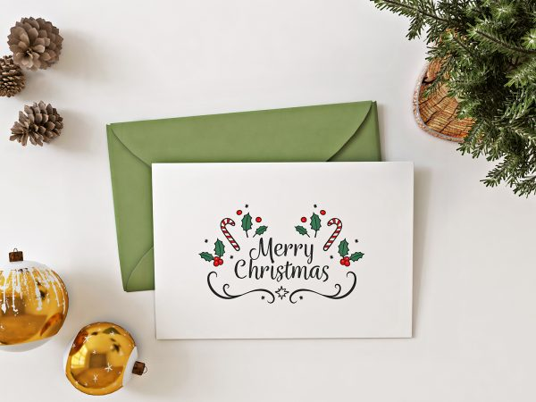 Christmas Card Free Mockup Top View
