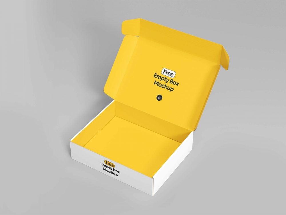 Free Open Empty Box Mockup