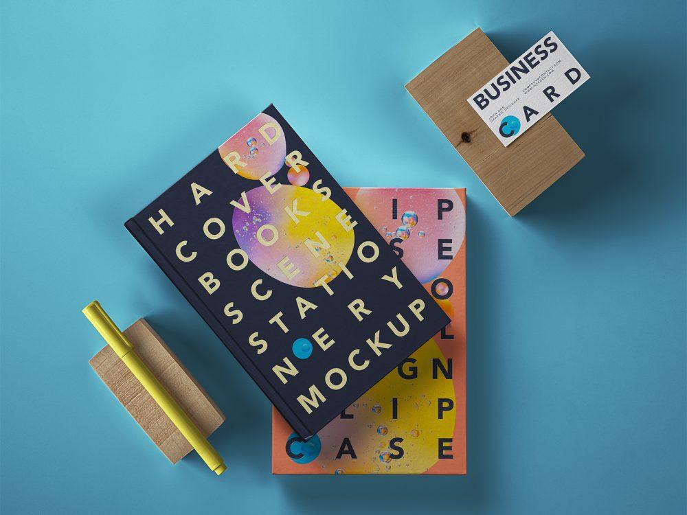 Hardcover Book PSD Mockup Scene