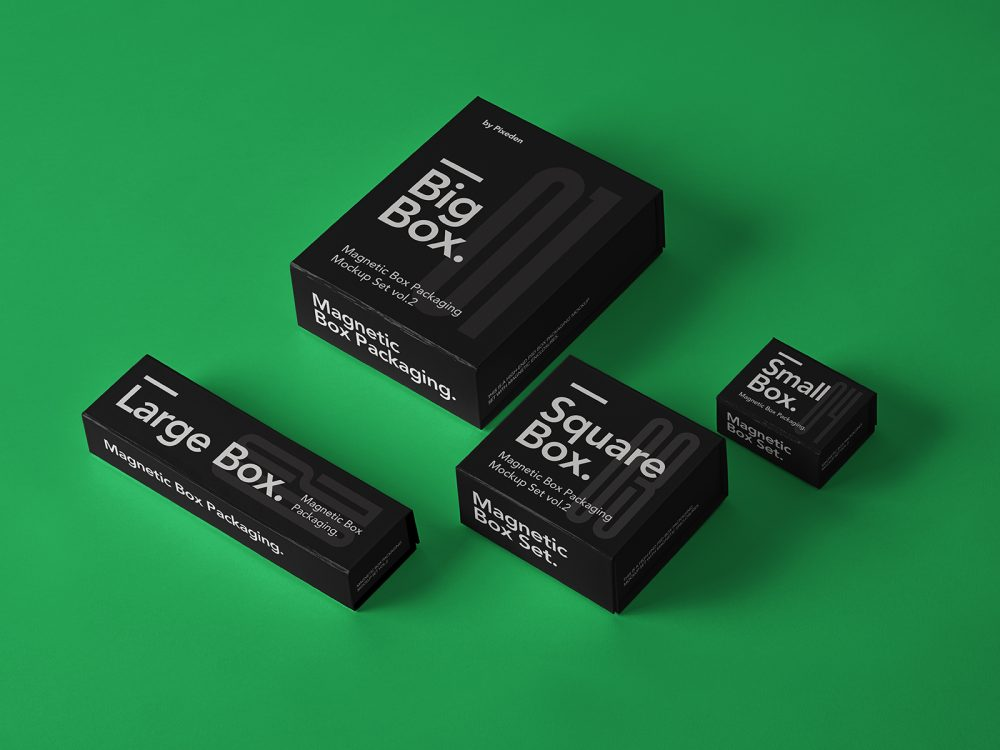 Magnetic Box Packaging Free Mockups