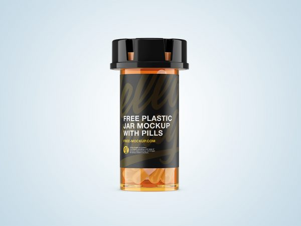 Plastic Orange Jar Mockup with Capsules
