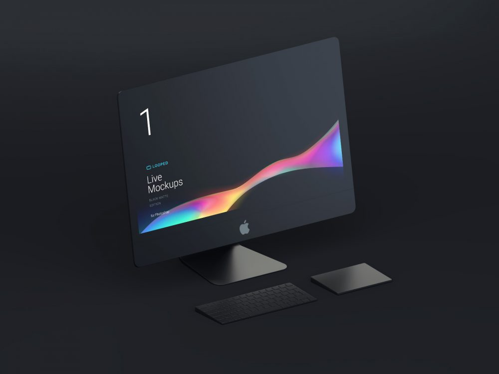 8 Black Clay Apple Devices Mockups