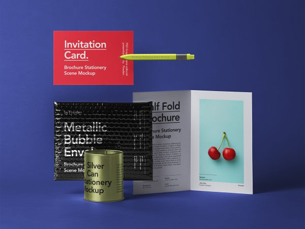 Bubble Mailer with Half-Fold Brochure Mockup