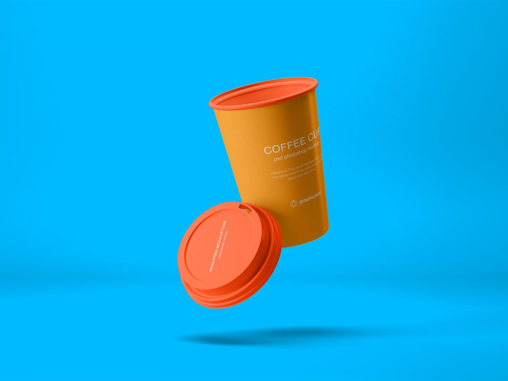 Flying Coffee Cup Free Mockup