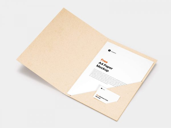 Brand Folder with A4 Paper Mockup