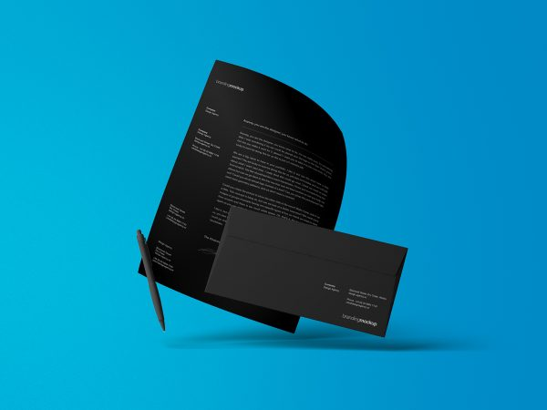 Floating Letterhead with Envelope Mockup