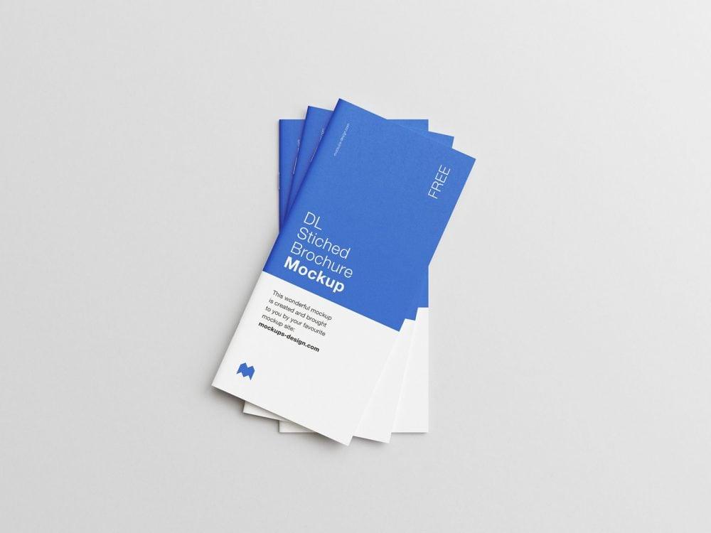 Free Saddle-Stitched DL Brochure Mockup