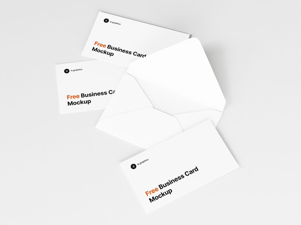 Open Envelope and Business Cards Mockup