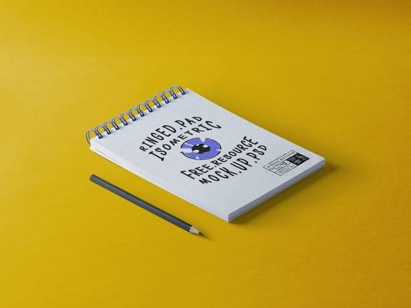 Ringed Notepad Mockup Free PSD