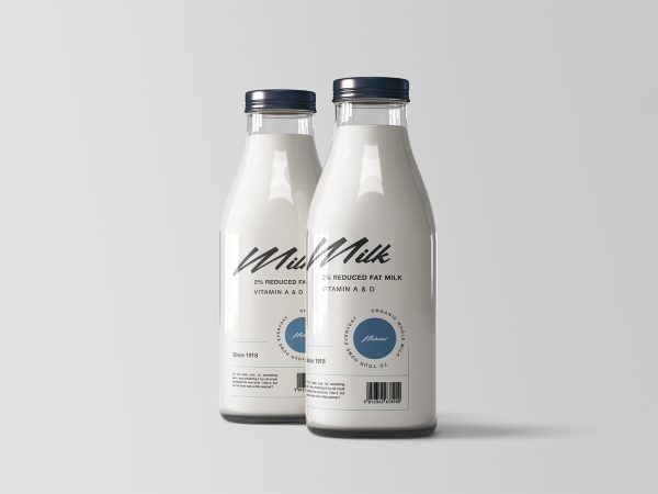 Two Glass Milk Bottles Free Mockup