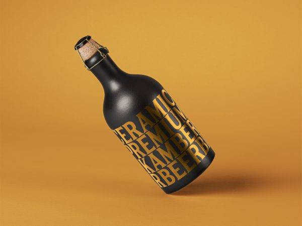 Dark Ceramic Bottle Free PSD Mockup