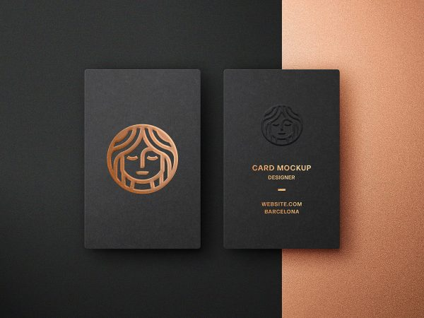 Foil Embossing Business Card Mockup
