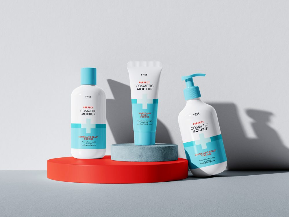 Free Set of Cosmetics Mockups