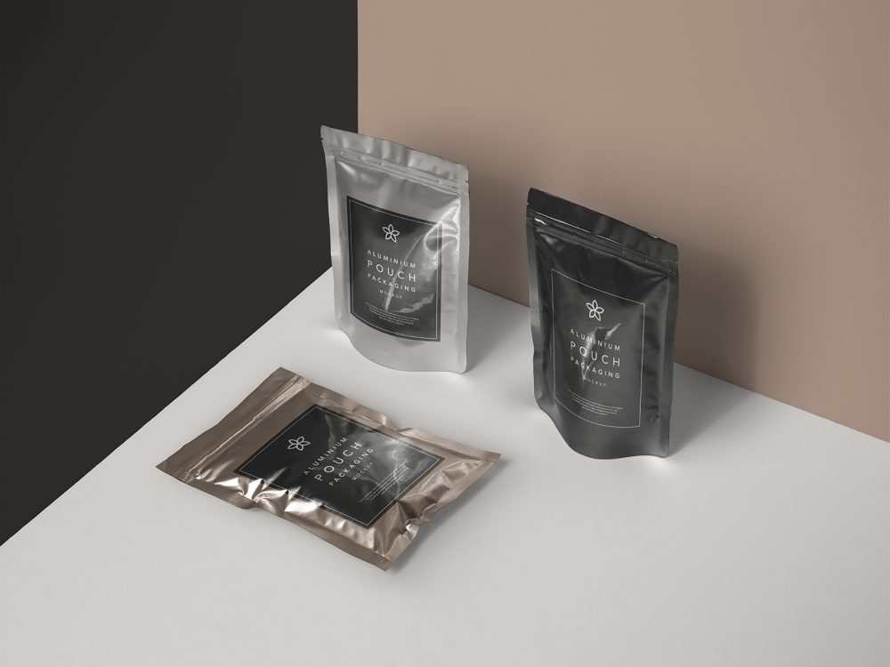 Metal Foil Pouch Packaging Free Mockup