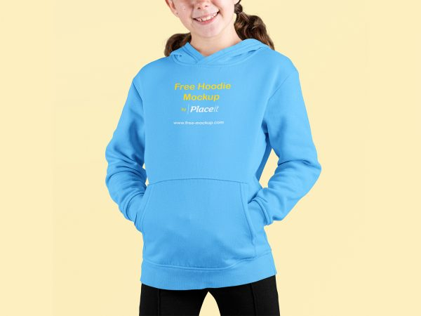 Smiling Girl Wearing a Pullover Hoodie Mockup at a Studio – Front View