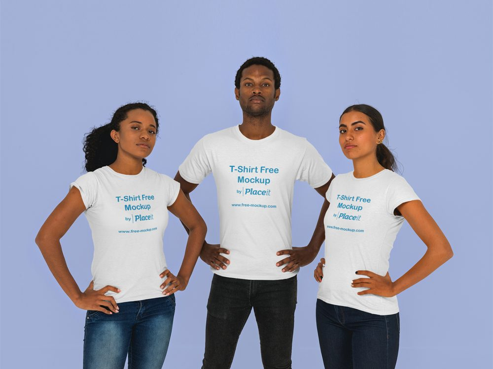 T-Shirt Mockup of a Man and Two Women