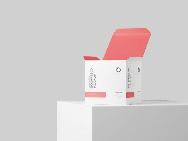 Free Square Box PSD Mockup