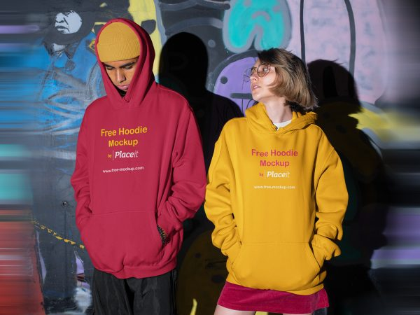 Hoodie Placeit Free Mockup of a Man and a Woman