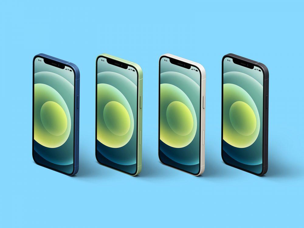 Isometric iPhone 12 Free Mockup Set