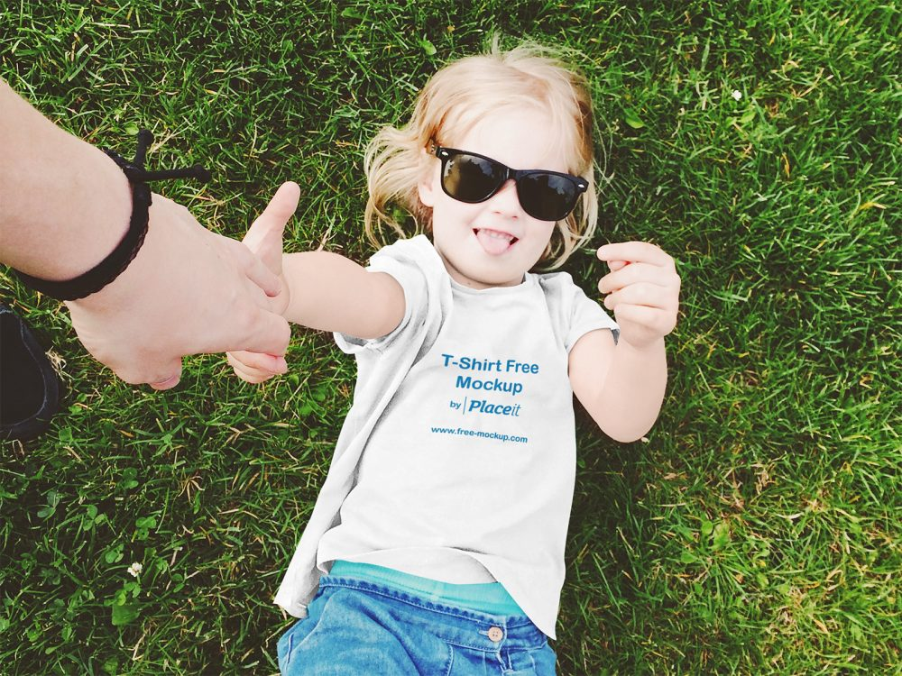 Kids T-Shirt Mockup Featuring a Little Girl with Sunglasses
