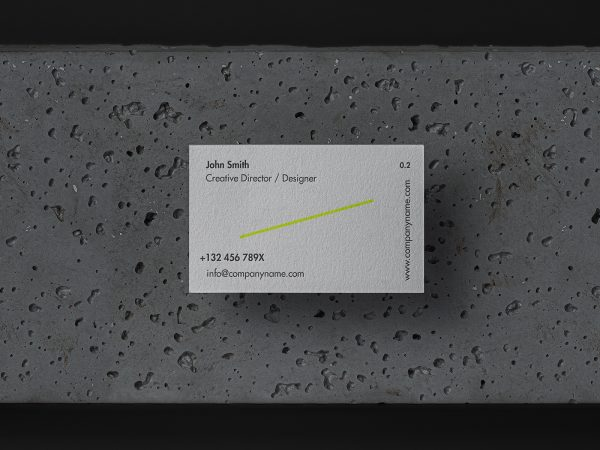 Stone Background Business Card Mockup