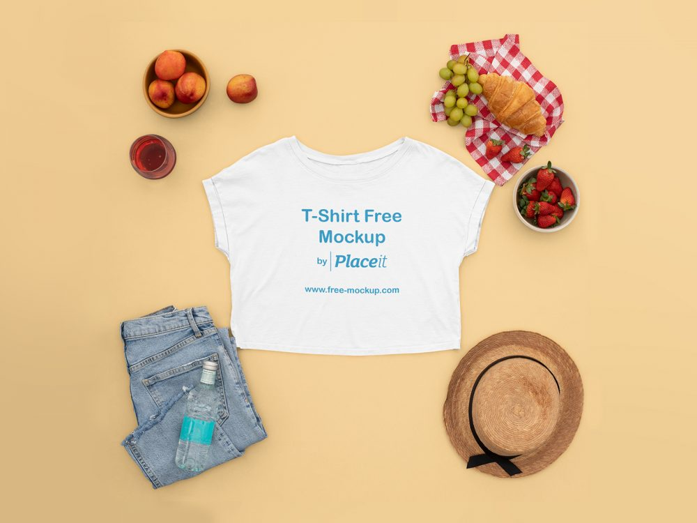 T-Shirt Crop Top Placeit Free Mockup Featuring a Woman's Picnic Outfit