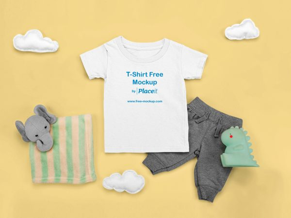 T-Shirt Mockup Featuring a Comfy Outfit for a Baby