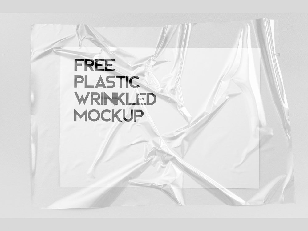 Free Plastic Wrinkled Reflections Mockup