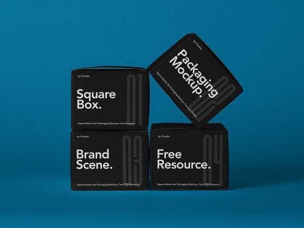 Free Square Boxes Packaging Mockup Set