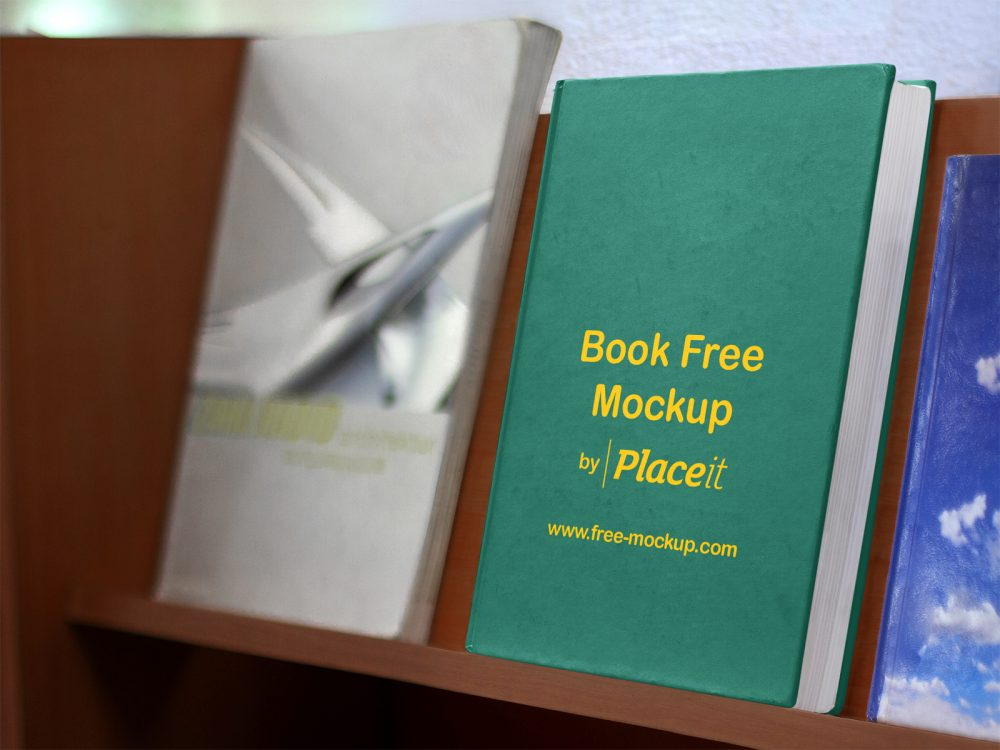 Hard Cover Book on a Wooden Bookshelf Placeit Free Mockup