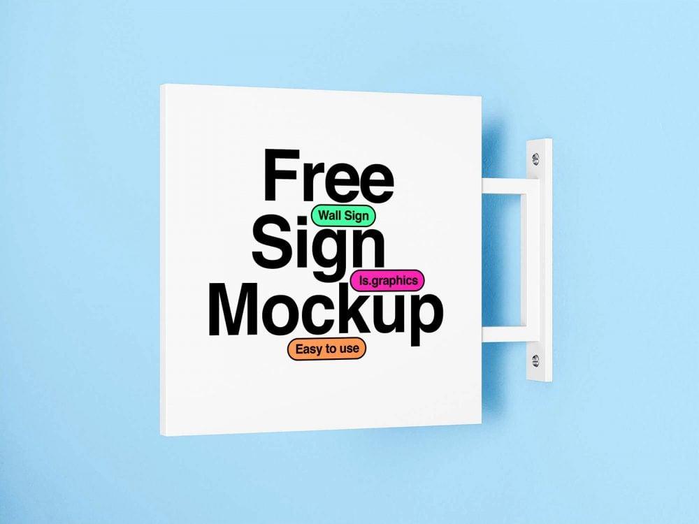 Minimalistic Wall Sign Free Mockup
