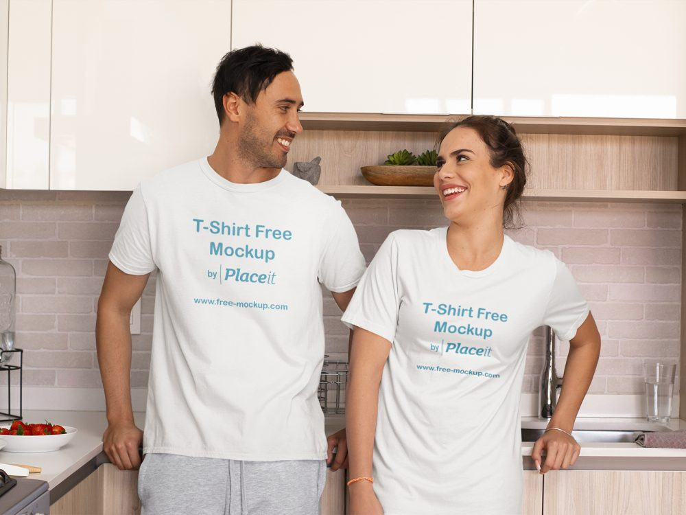 T-Shirt and Night Dress Placeit Mockup of a Couple in Pajamas at Home