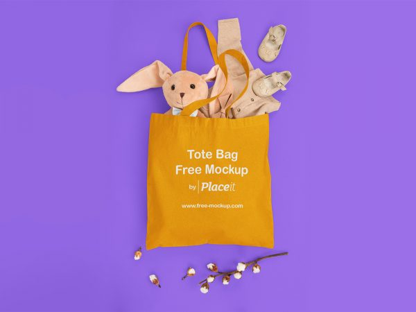 Tote Bag Placeit Free Mockup Filled with Baby Stuff
