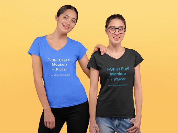 V-Neck T-Shirt Placeit Mockup Featuring Two Young Women