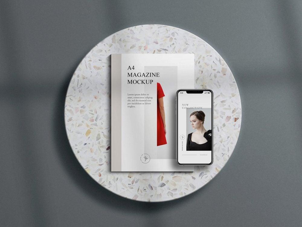 A4 Magazine with iPhone Free Mockup Scene