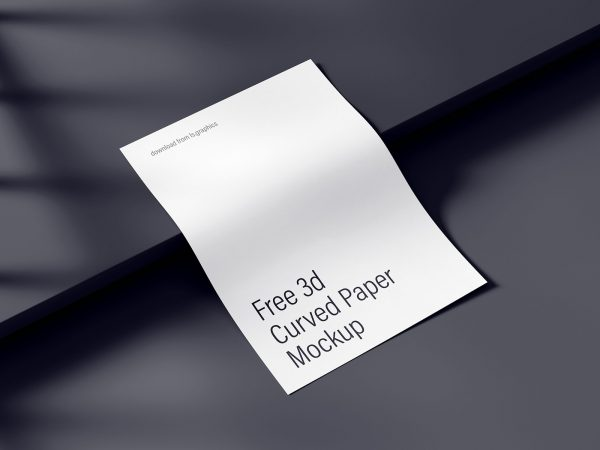 Curved A4 Paper Free Mockup