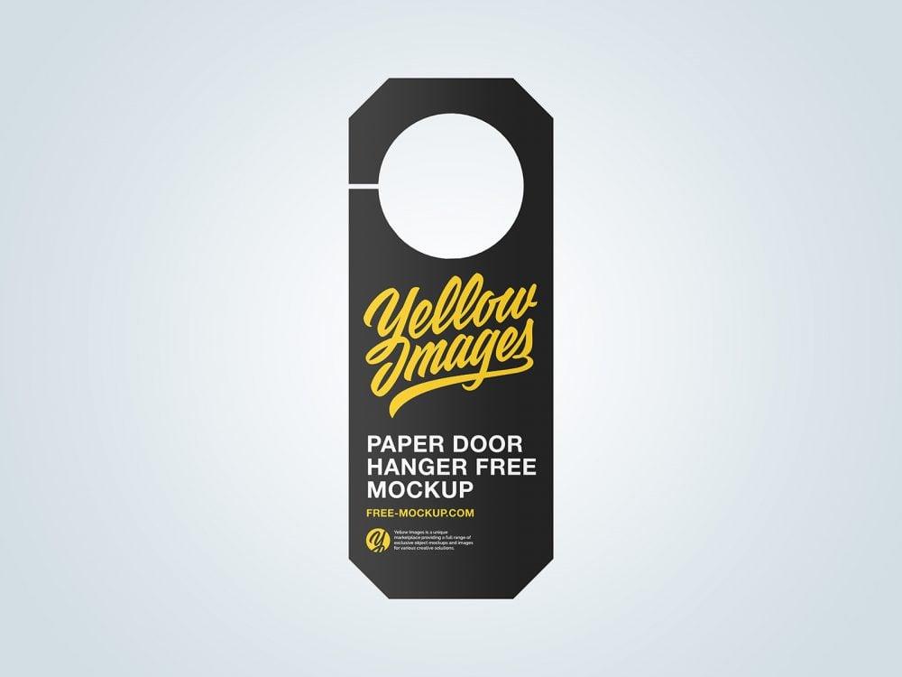 Paper Door Hanger Free Mockup