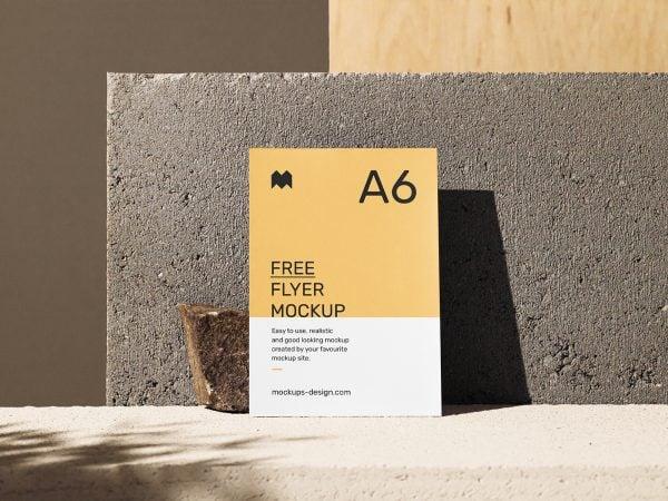 Free A6 Single Flyer Scene Mockup