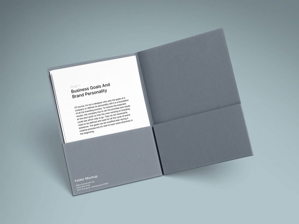 Free Brand Folder with A4 Paper Mockups