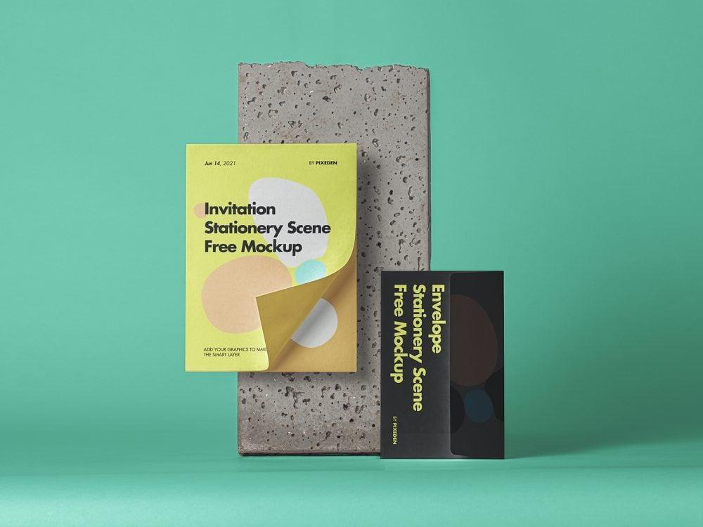 Free Envelope Stationery PSD Mockup