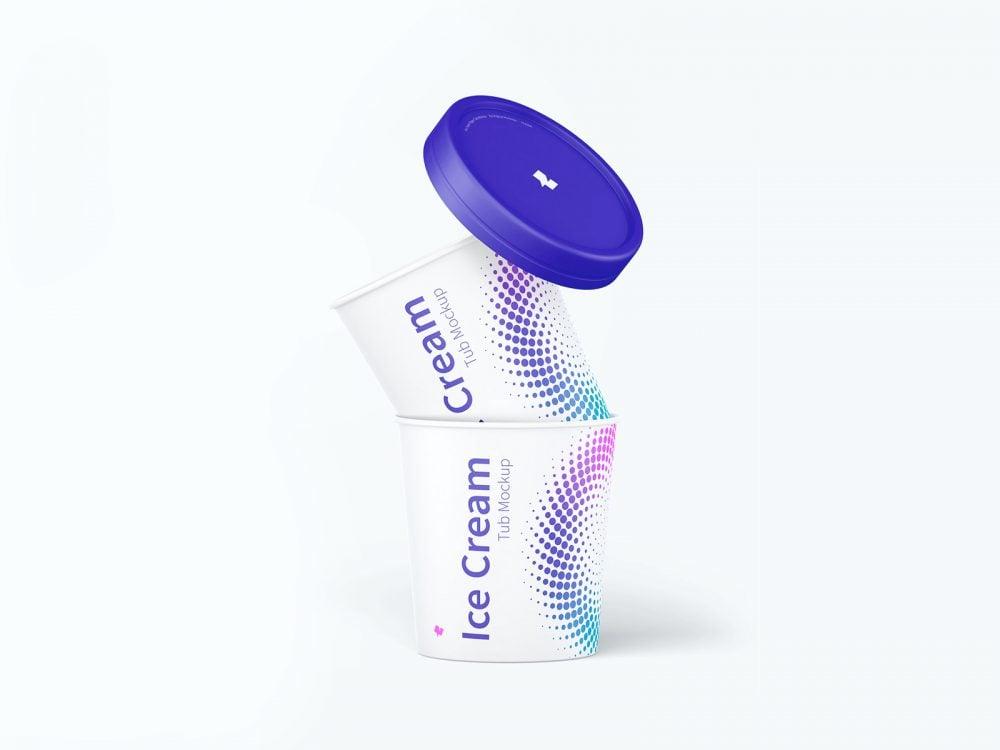 500ml Ice Cream Paper Tubs Mockup
