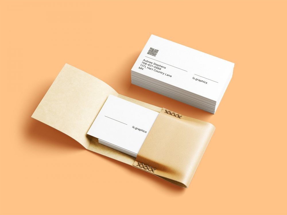Business Cards with Leather Card Holder Mockups