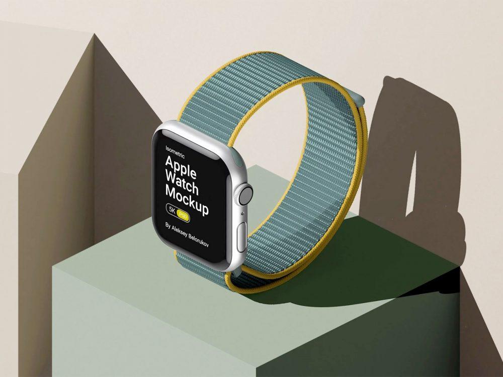 Free Apple Watch Mockup Isometric Scene