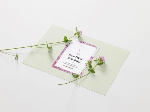Free Floral A6 Flyer Mockup